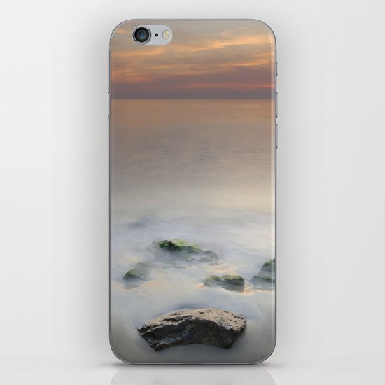 Calm red sunset at the beach iPhone & iPod Skin