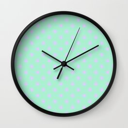 Pale Lavender Violet on Magic Mint Green Stars Wall Clock