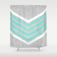 monika strigel Shower Curtains featuring Teal and White Chevron on Silver Grey Wood by Tangerine-Tane