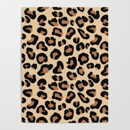 Leopard Print, Black, Brown, Rust and Tan Poster