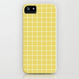 Hansa yellow - beije color - White Lines Grid Pattern iPhone Case