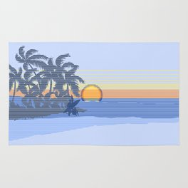 Big Sunset Hawaiian Surfer Striped Scenic Rug