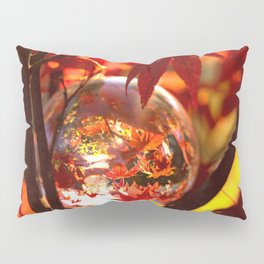 Red autumn foliage in the world of a globe Pillow Sham