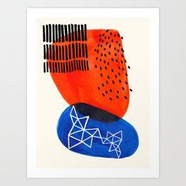Mid Century Modern abstract Minimalist Fun Colorful Shapes Patterns Orange Blue Bubbles Organic Art Print