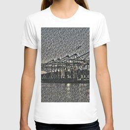 Netherlands Rotterdam Harbour Artistic Illustration Bubble Wrap Style T-shirt