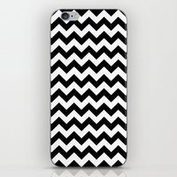 chevron iPhone & iPod Skins featuring Chevron (Black/White) by 10813 Apparel