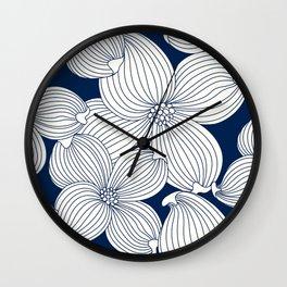 Dogwood Big Linear Floral: Navy Ivory Wall Clock