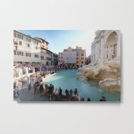 Crowd at the Trevi Fountain Metal Print