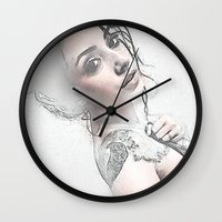 hippie Wall Clocks featuring Hippie Queen by Robin Curtiss