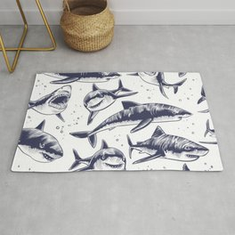 and more Sharks seamless pattern Rug