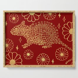 Year of the Rat Floral Serving Tray