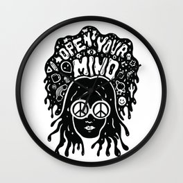 Open Your Mind in black Wall Clock