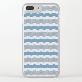 Wavy River in Blue and Gray 1 Clear iPhone Case