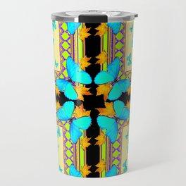 Southwestern Turquoise Butterflies Gold Black Patterns Art Travel Mug