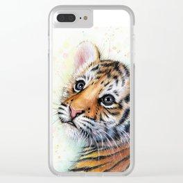 Nursery-Artwork-Tiger-Cub-Baby-Animal-Watercolor-Jungle-Safari-Animals Clear iPhone Case