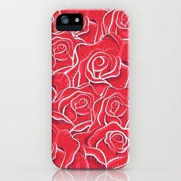 Roses hand drawn vintage illustration pattern  iPhone Case
