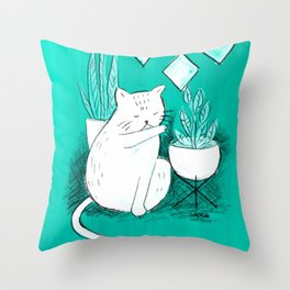 Turquoise Cat Throw Pillow