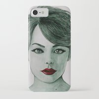 emma stone iPhone & iPod Cases featuring Emma Stone  by Kristy Holding