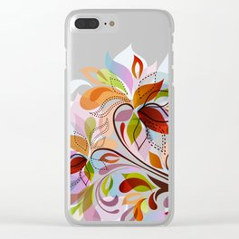Abstract Floral Fantasy Clear iPhone Case