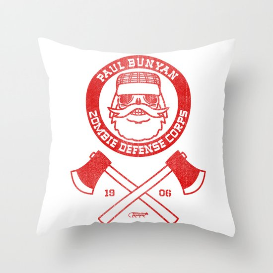 Paul Bunyan Zombie Defense Corps Throw Pillow