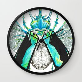 Geometric Drawing Silver and Blue Beetle Wall Clock