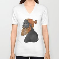 austin V-neck T-shirts featuring Beard Austin by Antony Makhlouf