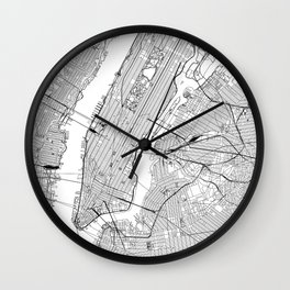 New York City White Map Wall Clock
