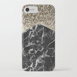 Shimmering golden chevron black marble iPhone Case