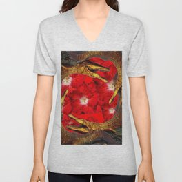 RED BLOODY HIBISCUS FLOWERS ALLIGATORS GOLD ART Unisex V-Neck