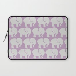 Troop Of Elephants (Elephant Pattern) - Gray Purple Laptop Sleeve