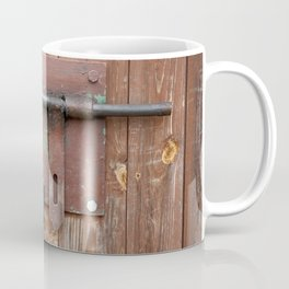 Iron sliding bolt unlocked and padlock Coffee Mug