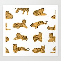 tigers Art Prints featuring Tigers by leah reena goren