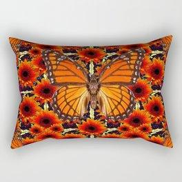 grey monarch butterflies sunflower patterns Rectangular Pillow