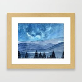 """Blue Hills"" watercolor landscape painting Framed Art Print"