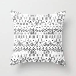 Mudcloth Style 1 in Black on White Throw Pillow