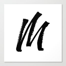 Letter M Ink Monogram Canvas Print