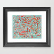 Koi - Coral & Turquoise Framed Art Print
