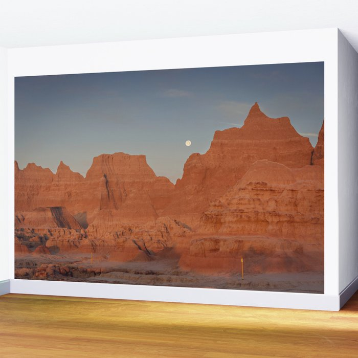 Moonsetting at Sunrise in the Badlands Wall Mural