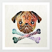 pug Art Prints featuring pug by Manoou
