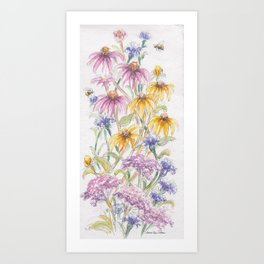 Wildflowers and Bees Art Print