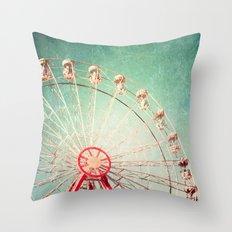 Vintage Textured Ferris Wheel Throw Pillow