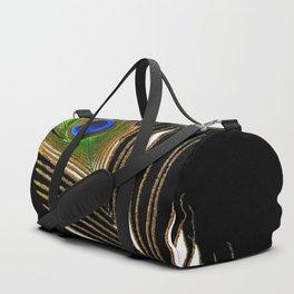 ART DECO PEACOCK FEATHER BLACK ART Duffle Bag