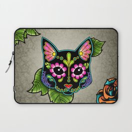 Black Cat - Day of the Dead Sugar Skull Kitty Laptop Sleeve