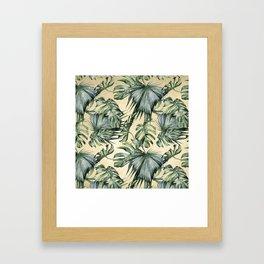 Palm Leaves Classic Linen Framed Art Print