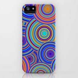 Retro Blue and Orange Circles Pattern iPhone Case