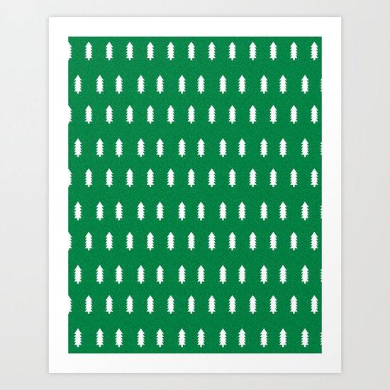 Christmas Trees minimal modern green and white holiday christmas decor Art Print