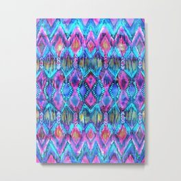 Ikat #32 Aqua Metal Print