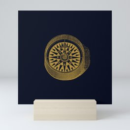 The golden compass I- maritime print with gold ornament Mini Art Print