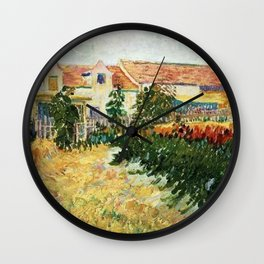 House with sunflowers by Vincent van Gogh Wall Clock