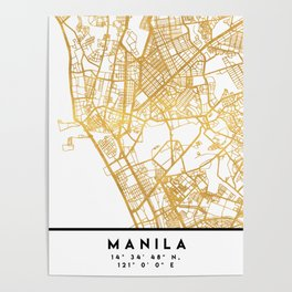 MANILA PHILIPPINES CITY STREET MAP ART Poster